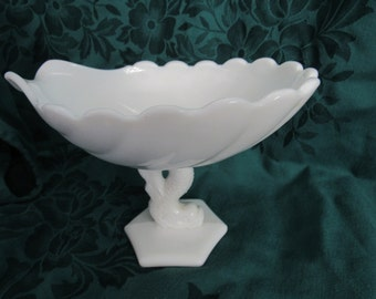 Westmoreland Dolphin and Seashell Milk Glass Compote