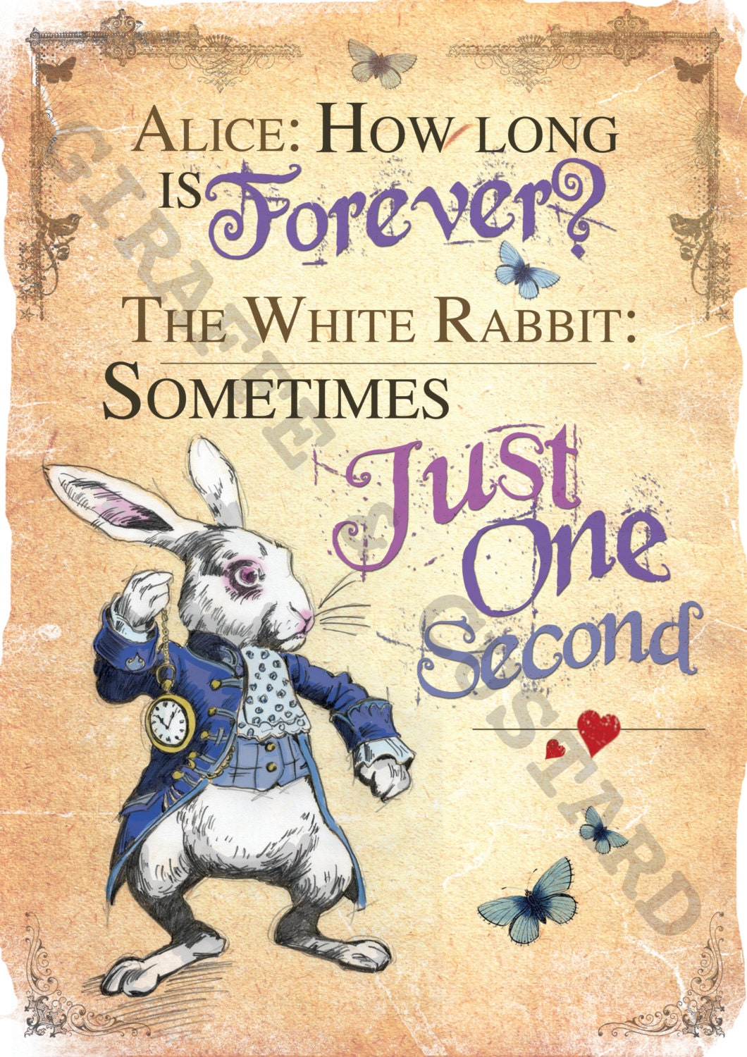 Alice In Wonderland Printable A4 Poster Art The White Rabbit