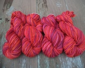 "219 yards/each ""Raspberry"" Angora/Wool Hand Dyed Fingering Weight Yarn"