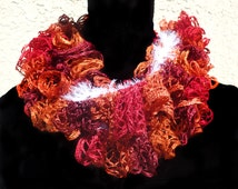 Infinity Scarf - Crocheted Sashay Yarn - Orange, Red, Maroon with Lash Lux Angora Trim
