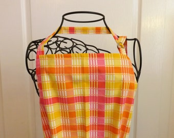 Adult Apron,  Pink & Yellow Plaid