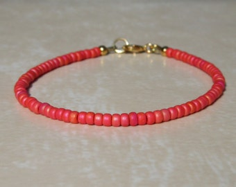 Red bracelet, Vermillion Layering bracelet, Friendship bracelet, beaded bracelet