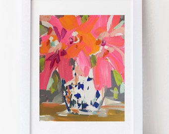 Hibiscus Abstract print on paper, print on canvas, hot pink