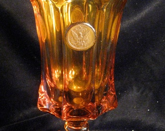 FOSTORIA Amber COIN Glass Urn or Vase