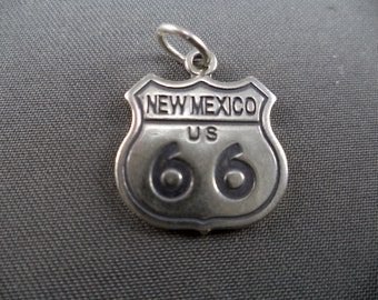 Solid 925 Sterling Silver New Mexico Route 66 Charm