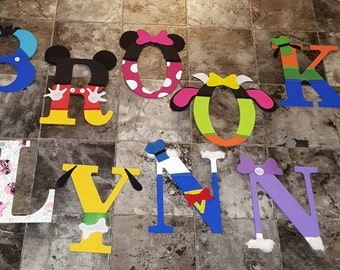 Personalized kid letters. Minnie mouse theme and Mickey and characters theme.