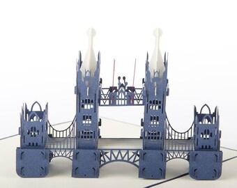 london tower bridge 3d card hand made