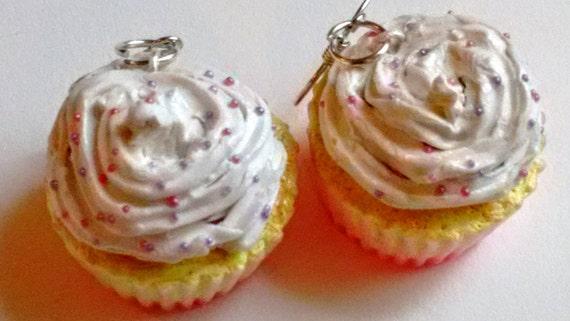Vanilla Frosting Cupcake Earrings - Miniature Food Jewelry - Inedible Jewelry, Dessert Jewelry, Kawaii Jewelry - Cupcake Jewelry - Fake Food