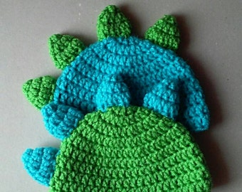 Twin Dinosaur Crochet Hats, Newborn Photo Prop