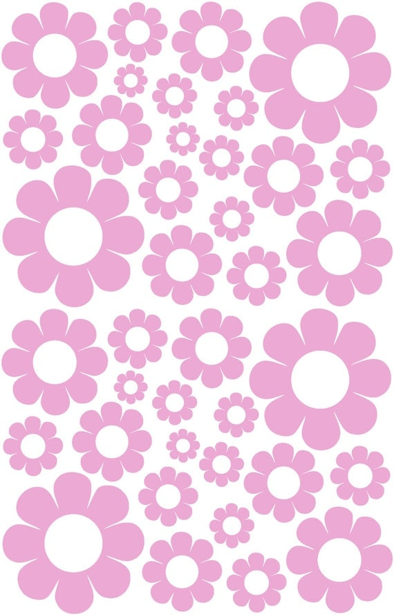 38 Lavender Daisy Vinyl Shaped Bedroom Wall Decals Stickers Light Purple Daisies Teen Nursery Room Removable Custom Made Easy to Install