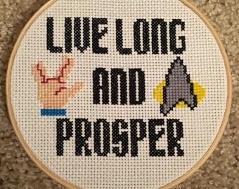 Star Trek Cross Stitch - Live Long and Prosper