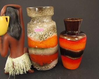 Vintage ceramic set of two vases / Scheurich / orange, red and braun/beige   West German Pottery   60s