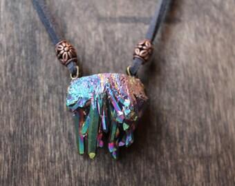 rainbow aura quartz necklace