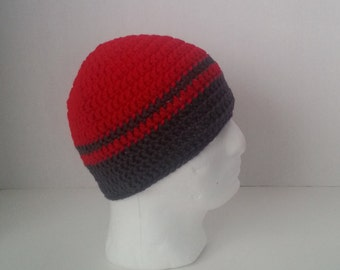 Mens Crochet Beanie, Men's Crochet Hat Two-Toned Red and Gray, Teen Boys Red and Gray Crochet Beanie, Mens Red and Grey Crochet Beanie
