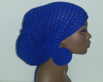 Crochet Tam with Drawstring and Earrings, Large Rasta Tam - Royal Blue Rasta Mega Tam and Earrings Set, Blue Dreadlock Hat and Earrings