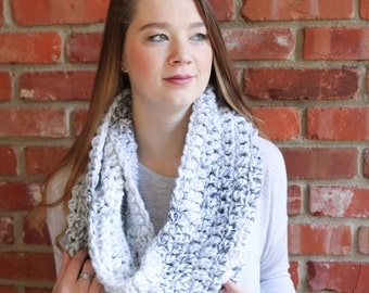 Long Chunky Crochet Infinity Scarf - Marble - The Ferrier Scarf