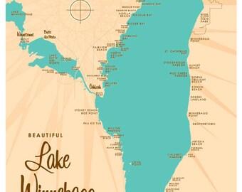 Lake Winnebago, WI Map Print