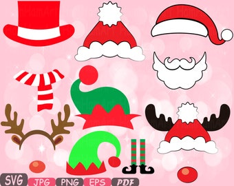 Christmas Props Party Photo Booth Silhouette Costume Cutting Files SVG horns Clipart Bunting Digital Santa Claus props reindeer Vinyl -5p