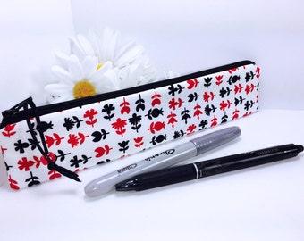 White Red Black Pencil Case, Slim Pencil Case, Slim Zipper Pouch, Slim Pencil Pouch, Long Pencil Pouch, Back to School