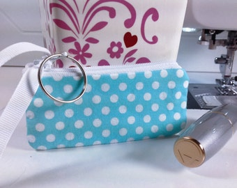 Lipstick Case, Small Zippered Bag, Lip Balm Case, Earphones, Coins, USB Case, Keyring Attached, Teal Background, White PolkaDots