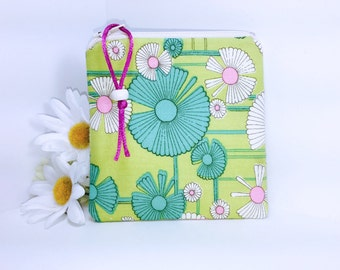 Flower Power Coin Purse, Coin Pouch, Small Zipper Pouch, Change Purse, Little Zipper Pouch