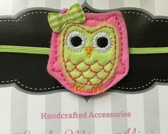 Owl Headband - Green & Pink - Felties - Elastic - Hair Accessories