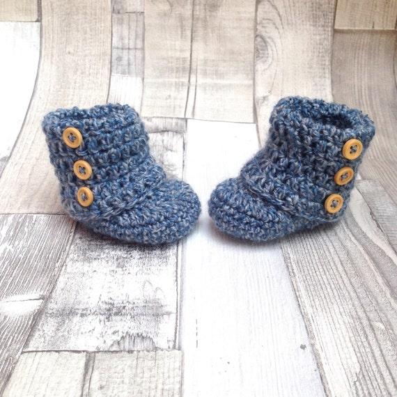 Baby booties, blue booties, Baby booties, Crochet booties, Baby shower gift, Baby present, Gift wrapped, newborn, 0-3 3-6 months