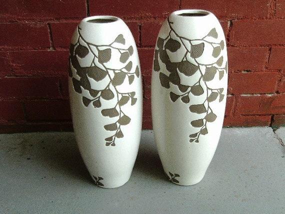 Vintage ginkgo vase pair