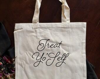 treat yo self - treat yo self bag - market bag - bags & purses - grocery bag - canvas tote bag - large bag  - canvas bag - grocery tote