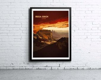 Mssa Arch Utah Illustration Print, Poster, Art, Wall Art, Typography
