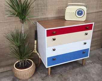 SOLD OUT** Striking, Vintage, Retro, Mid-Century, Scandinavian, 1960's, Hand-painted, British-made, Avalon Chest Of Drawers, 4-drawers, Teak