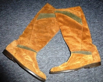 80's Tan and Brown Suede Slouch Boots by Yessica (C&A) - size 41/7.5