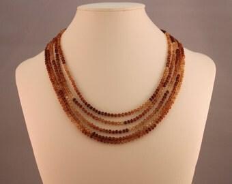 Hessonite Multi-Strand Beaded Necklace