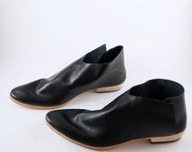 The Terilyn GBG~ 2cm heel~ Gloss Black Gloveskin Leather ankle boot~ Womens Handmade Boots