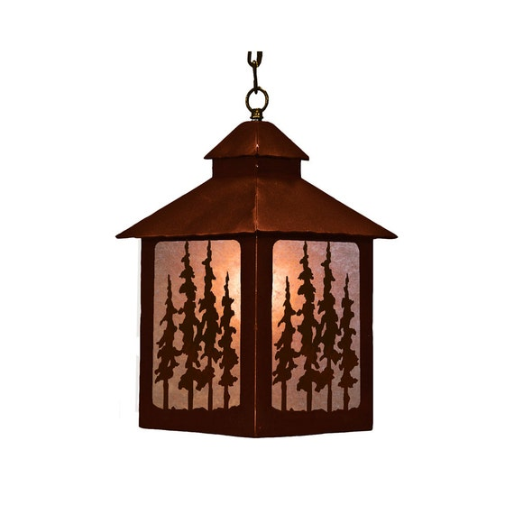 Lantern Pendant Pine Trees Light Fixture