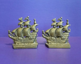Vintage 1970's Solid Brass Pirate Ship Bookends Mid Century Modern Bookshelf Decor Rich Patina MCM