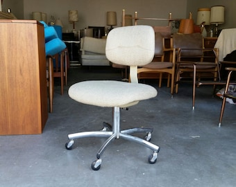 Vintage 1970's Modern Steelcase Desk Chair Oatmeal Woven Wool Fabric Mid Century Great Condition