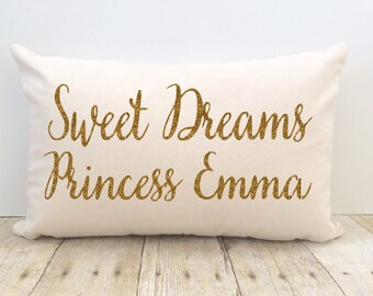 Sweet Dreams Pillow Cover, Personalized, Princess, Prince, Sweet Pea. Baby Girl, Boy, Little Girl, Custom