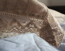 linen pillowcase, natural linen, pillowcase with linen lace, provincial living style, French living style