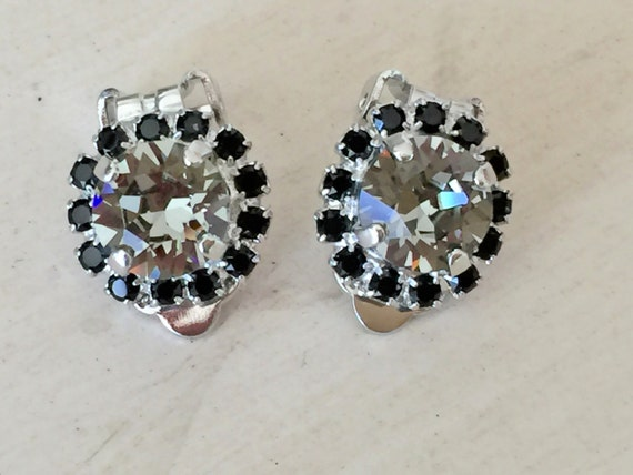 Black Diamond and Jet Crystal Halo Clip On Earrings, Silver