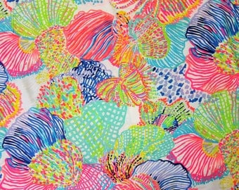 "1 Yard 36"" x 55"" Lilly Pulitzer 2016 Cotton Poplin Fabric "" Multi Roar of The Seas """