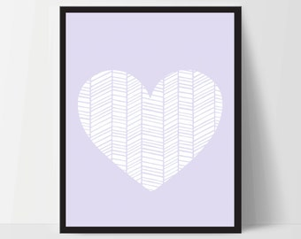 Wall Art, Geometric Heart, Unframed, Artwork, Home Decor, Modern Contemporary, Print Art, Boho, Nursery, Baby, Purple, 12x16 Inches