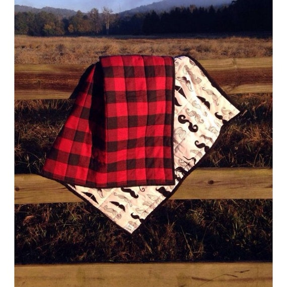 Plaid Baby Quilt: Items Similar To BUFFALO PLAID MUSTACHE Baby Quilt On Etsy