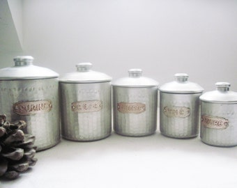5 Tin Canisters Vintage French 1940s Kitchen Storage
