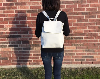 White Faux Leather Backpack | High quality faux leather Backpack - Perfect for school | holiday gift | birthday gift | everyday wear