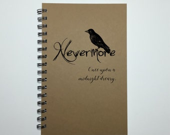 Edgar Allen Poe, Nevermore, The Raven, Gift, Edgar Allan Poe, Journal, Literature, Bullet Journal, Writing Journal, Poetry Book, Notebook