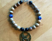 Black Tourmaline, Sodalite, and Picture Jasper Bracelet Healing Crystals FREE SHIPPING!