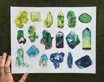 NEW • Landscape Green and Blue Mineral and Crystal Art Print