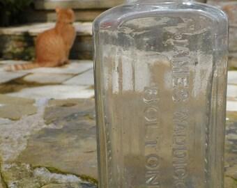 "James Waddicor Ltd Bolton Celebrated Varnish Vintage Glass Dug Up Bottle 5"""