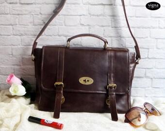 Leather satchel bag - Leather woman sling bag - leather woman messenger bag - Dark Brown leather bag